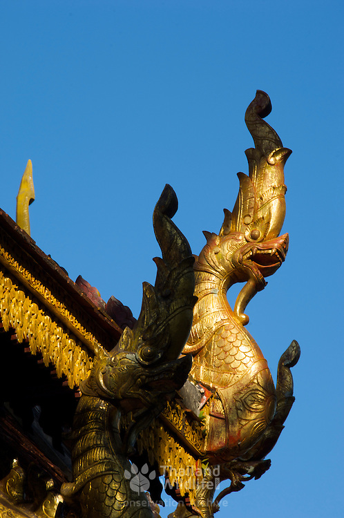 Roof detail at Wat Chom Choeng Temple in Chiang Saen, Chiang Rai Northern Thailand South East Asia.