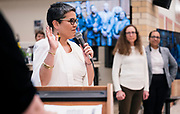 Ananda Mirilli accepts the duties of the Madison Metropolitan School board position during the MMSD swearing-in ceremony at Cesar Chávez Elementary School in Madison, WI on Monday, April 29, 2019.