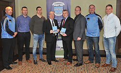 Charlie Lambert, Oisin McConville, Lee Keegan, Minister for State at the Dept of Tourism and Sport Michael Ring TD, Corofin Manager Stephen Rochford, Michael Gallagher, Martin Calvey and Kevin Keane attending the Westport GAA seminar on Health and Wellbeing.<br /> Pic Conor McKeown