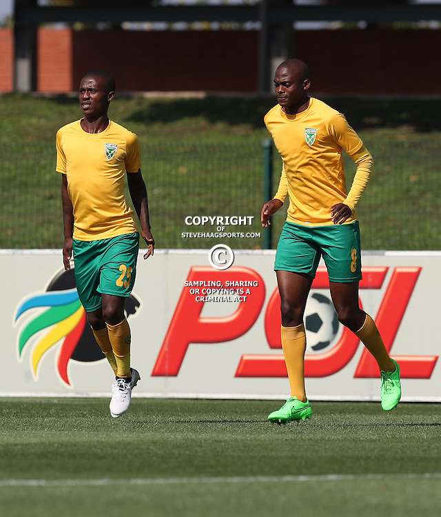Nduduzo Sibiya with Nkanyiso Cele of Golden Arrows during the 2016 Premier Soccer League match between Golden Arrows and Chippa United held at the Princess Magogo Stadium in Durban, South Africa on the 15th October 2016<br /> <br /> Photo by:   Steve Haag / Real Time Images