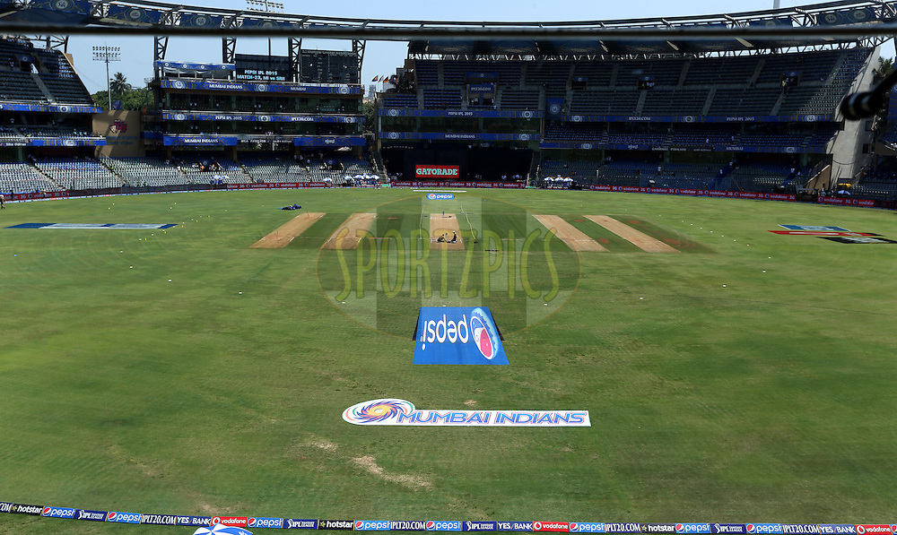 General view of the ground before the match 23 of the Pepsi IPL 2015 (Indian Premier League) between The Mumbai Indians and The Sunrisers Hyferabad held at the Wankhede Stadium in Mumbai India on the 25th April 2015.<br /> <br /> Photo by:  Sandeep Shetty / SPORTZPICS / IPL