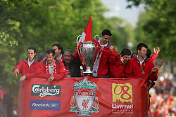 LIVERPOOL, ENGLAND - THURSDAY, MAY 26th, 2005: Liverpool's Luis Garcia, Jamie Carragher, Chairman David Moores, Antonio Nunez, Steven Gerrard and John Arne Riise parade the European Champions Cup on on open-top bus tour of Liverpool in front of 500,000 fans after beating AC Milan in the UEFA Champions League Final at the Ataturk Olympic Stadium, Istanbul. (Pic by David Rawcliffe/Propaganda)