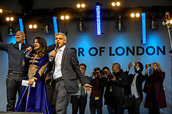 © Licensed to London News Pictures. 29/04/2017. London, UK. Sadiq Khan, Mayor of London, encourages a giant group selfie.  Visitors enjoy the Sikh festival of Vaisakhi taking place in Trafalgar Square and hosted by the Mayor of London.  The festival celebrates the beginning of Sikhism, a collective faith which is practiced by more than 20 million people worldwide.   Photo credit : Stephen Chung/LNP
