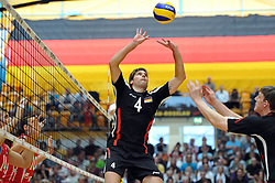 04.09.2010, Anhalt Arena, Dessau, GER, Vorbereitung Volleyball WM 2010, Laenderspiel Deutschland ( GER ) vs. Russland ( RUS ) 1:3, im Bild Simon Tischer (#4 GER), Marcus Boehme (#8 GER). EXPA Pictures © 2010, PhotoCredit: EXPA/ nph/   Conny Kurth+++++ ATTENTION - OUT OF GER +++++