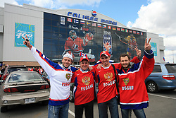 Fans of Russia before an ice-hockey game Canada vs Russia at finals of IIHF WC 2008 in Quebec City,  on May 18, 2008, in Colisee Pepsi, Quebec City, Quebec, Canada.  (Photo by Vid Ponikvar / Sportal Images)