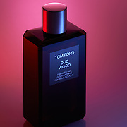 Atlanta Commercial Product Photography - Tom Ford Oud Wood Body Wash bathed in bright color.