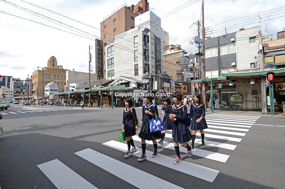Schoolgirls crossing the street, Kyoto