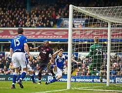 BIRMINGHAM, ENGLAND - Saturday, March 13, 2010: Everton's Ayegbeni Yakubu scores the second goal against Birmingham City during the Premiership match at St Andrews. (Photo by David Rawcliffe/Propaganda)