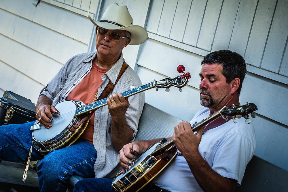 Bluegrass music festival and musicians.