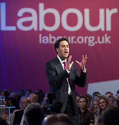 Ed Miliband during his keynote speech to the Labour Party Conference in Manchester, October 2, 2012. Photo by Elliott Franks / i-Images.