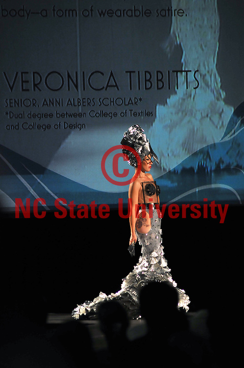 """Model shows off an outfit from Veronica Tibbetts' line """"sattire."""""""