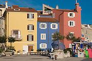 Colourful, modern houses. Piran. Slovenia. Eastern Europe.