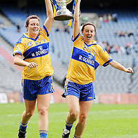 27 September 2009; Bernie Kelly, left, and Majella Griffin, Clare, celebrate with the cup. TG4 All-Ireland Ladies Football Intermediate Championship Final, Clare v Fermanagh, Croke Park, Dublin. Picture credit: Stephen McCarthy / SPORTSFILE *** NO REPRODUCTION FEE ***