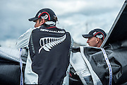 Emirates Team New Zealand Sailors, Dean Barker and Ray Davies survey the race area before practice day for the Cardiff Extreme Sailing Series Regatta. 21/8/2014