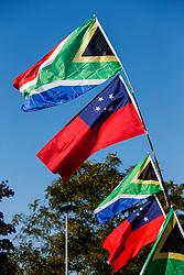 South Africa and Samoa flags flying outside the ground - Mandatory byline: Rogan Thomson/JMP - 07966 386802 - 26/09/2015 - RUGBY UNION - Villa Park - Birmingham, England - South Africa v Samoa - Rugby World Cup 2015 Pool B.