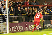 York City forward, on loan from Oldham Athletic, Rhys Turner celebrates his equaliser during the Sky Bet League 2 match between York City and Oxford United at Bootham Crescent, York, England on 29 September 2015. Photo by Simon Davies.