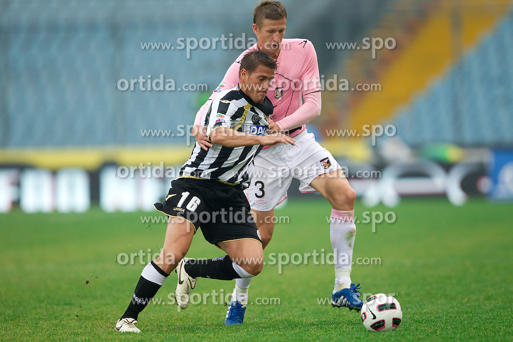 Denis German ustavo of Udinese vs Goian Dorin Nicola of Palermo during football match between Udinese Calcio and Palermo in 8th Round of Italian Seria A league, on October 24, 2010 at Stadium Friuli, Udine, Italy.  Udinese defeated Palermo 2 - 1. (Photo By Vid Ponikvar / Sportida.com)