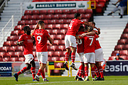 Swindon Town players celebrates a goal (3-0) during the EFL Sky Bet League 2 match between Swindon Town and Macclesfield Town at the County Ground, Swindon, England on 14 September 2019.