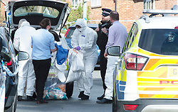 ©Licensed to London News Pictures 08/03/2020<br /> Sevenoaks, UK. Forensic officers at the scene where a body was found in the Bat and Ball area of Sevenoaks in Kent, Police are standing guard while a number of forensic officers work at the scene.  Photo credit: Grant Falvey/LNP