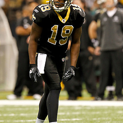 December 4, 2011; New Orleans, LA, USA; New Orleans Saints wide receiver Marques Colston (12) against the Detroit Lions during a game at the Mercedes-Benz Superdome. The Saints defeated the Lions 31-17. Mandatory Credit: Derick E. Hingle-US PRESSWIRE