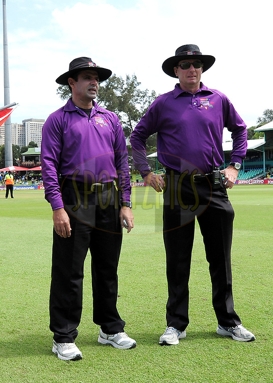 The Umpires for match 17 of the Karbonn Smart CLT20 South Africa between The Chennai Superkings and Yorkshire held at Kingsmead Park in Durban, South Africa on the 22nd October 2012..Photo by Gerhard Duraan/SPORTZPICS/CLT20