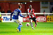 Joel Grant (12) of Exeter City on the attack during the EFL Sky Bet League 2 play off second leg match between Exeter City and Carlisle United at St James' Park, Exeter, England on 18 May 2017. Photo by Graham Hunt.