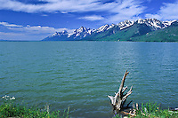 The Teton Range as viewed from the northeast shore of Jackson Lake.  Teton National Park.  Wyoming, USA
