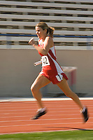 Female track athlete sprinting