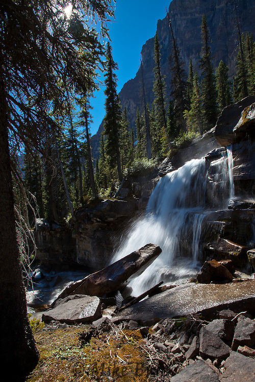 Waterfalls along a path above Shadow Lake and below Mount Ball in Banff National Park, Alberta.