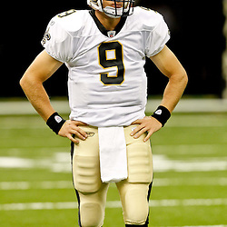 August 12, 2011; New Orleans, LA, USA; New Orleans Saints quarterback Drew Brees (9) prior to kickoff of a preseason game against the San Francisco 49ers at the Louisiana Superdome. Mandatory Credit: Derick E. Hingle