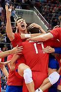 Poland, Krakow - 2017 September 03: Dmitrii Volkov and Maxim Mikhailov both from Russia celebrate victory in the final match between Germany and Russia during Lotto Eurovolleyball Poland 2017 - European Championships in volleyball at Tauron Arena on September 03, 2017 in Krakow, Poland.<br /> <br /> Mandatory credit:<br /> Photo by © Adam Nurkiewicz<br /> <br /> Adam Nurkiewicz declares that he has no rights to the image of people at the photographs of his authorship.<br /> <br /> Picture also available in RAW (NEF) or TIFF format on special request.<br /> <br /> Any editorial, commercial or promotional use requires written permission from the author of image.