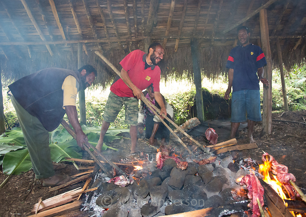 Men cooking using a traditional Papua New Guinea earth oven or 'Mumu', Enga Province, Papua New Guinea