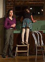 "Susy Hendrix (Nerissa Bodwell) and Gloria (Sophia Joyal) during dress rehearsal for Streetcar Company's ""Wait Until Dark"" at Laconia High School Auditorium.  (Karen Bobotas/for the Laconia Daily Sun)"