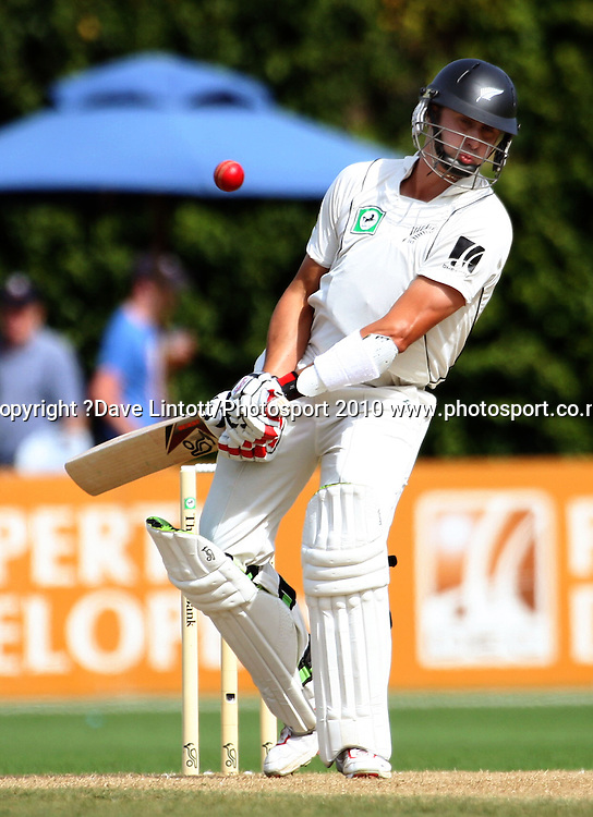 NZ's Peter Ingram dodges a bouncer.<br /> 1st cricket test match - New Zealand Black Caps v Australia, day three at the Basin Reserve, Wellington.Sunday, 21 March 2010. Photo: Dave Lintott/PHOTOSPORT