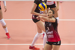 December 12, 2017 - Busto Arsizio, Varese, Italy - Alessia Orro (#8 Yamamay e-work Busto Arsizio) during the Women's CEV Cup match between Yamamay e-work Busto Arsizio and ZOK Bimal-Jedinstvo Brcko at PalaYamamay in Busto Arsizio, Italy, on 12 December 2017. Italian Yamamay e-work Busto Arsizio team defeats 3-0 Bosnian ZOK Bimal-Jedinstvo Brcko. (Credit Image: © Roberto Finizio/NurPhoto via ZUMA Press)