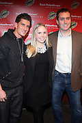 l to r: Donnie Klang, Laura Lewis and Chris Brown at The Rush Philanthropic 10th Annual Youth Annual Hoiliday Party sponsored by Bounty and held at the Fillmore New York at irving Plaza on December 10, 2009 in New York City.