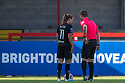 Guro Reiten (Chelsea) & Lee Collins (Referee) in conversation during the FA Women's Super League match between Brighton and Hove Albion Women and Chelsea at The People's Pension Stadium, Crawley, England on 15 September 2019.