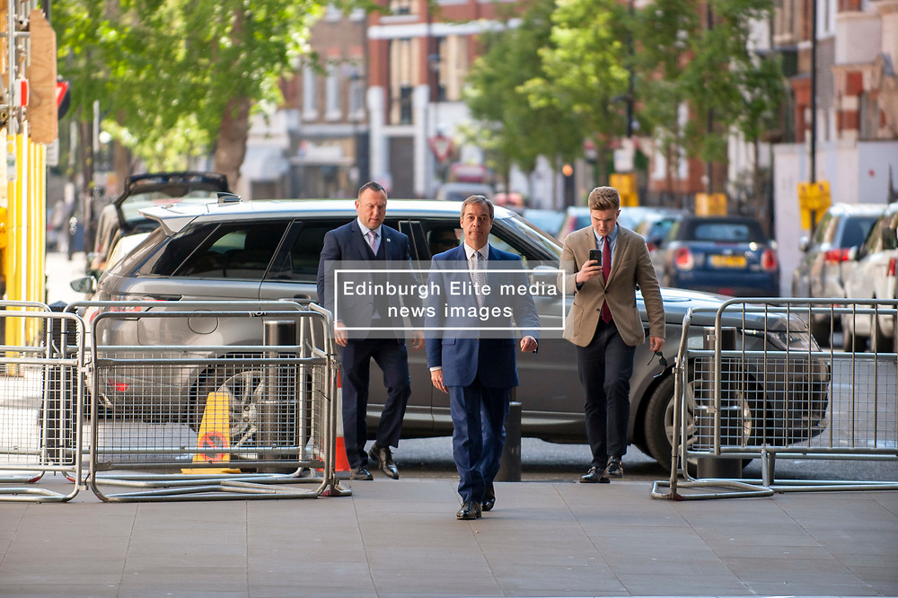 Nigel Farage leader of the Brexit Party arriving at the BBC in London before appearing on the Andrew Marr show. <br /> <br /> Richard Hancox | EEm 12052019