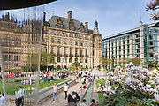 Town Hall and Mercure Hotel from Peace Gardens, with Water Pouring from Fountain & Magnolia Tree Blossom, Sheffield City Centre, UK