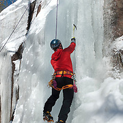 Ice climbing near the Swift River in the White Mountain National Forest, New Hampshire