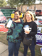 North Houston Early College HS Principal Angela Lundy-Jackson, left, and East Early College HS Principal Tamera Bolden get the word out at the polls.<br />