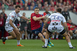 October 20, 2018 - Limerick, Ireland - Andrew Conway of Munster with the ball and Matt Banahan of Gloucester during the Heineken Champions Cup match between Munster Rugby and Gloucester Rugby at Thomond Park in Limerick, Ireland on October 20, 2018  (Credit Image: © Andrew Surma/NurPhoto via ZUMA Press)