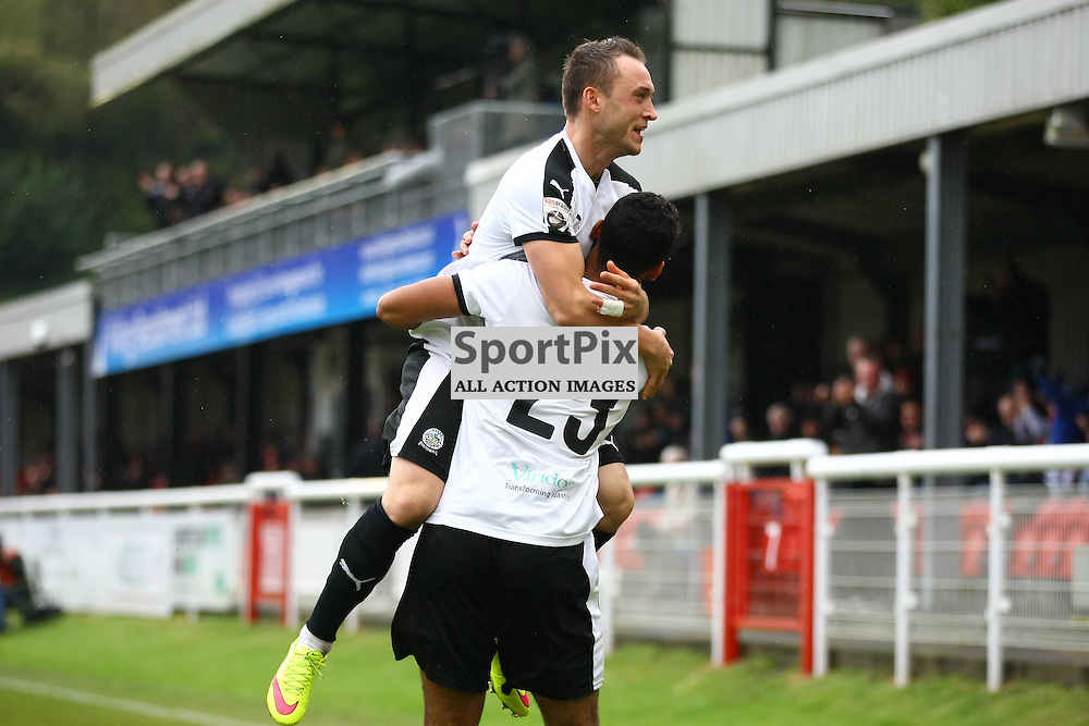 Dover's striker Ricky Miller (9) congratulates Dover's striker Stefan Payne (23) on scoring and pulling the whites equal. Dover Athletic against Macclesfield Town in the Vanorama Conference Premier. At Crabble Stadium, Dover, Kent. (c) Matt Bristow | SportPix.org.uk