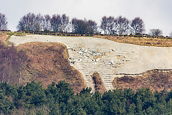 © Licensed to London News Pictures. 29/03/2018. Kilburn, UK. Picture shows the Kilburn White Horse this morning. Upkeep of the famous landmark has passed to the Forestry Commission from the voluntary group which has looked after it for 161 years. The horse, which lies on land at Sutton Bank, near Thirsk, owned by the commission will now be maintained by them instead of the Kilburn White Horse Association. A commission spokesman said the transfer was agreed following meetings last year, owing to the health and safety laws around working on the steep slopes, and national volunteering guidelines. The white horse was created by the village schoolmaster and his pupils in 1857. Photo credit: Andrew McCaren/LNP