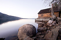 Scenic image of boathouse on Fallen Leaf Lake, CA.