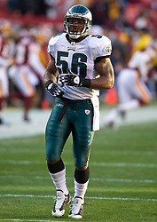 Philadelphia Eagles linebacker Akeem Jordan (56). The Washington Redskins defeated the Philadelphia Eagles 10-3 in an NFL football game held at Fedex Field in Landover, Maryland on Sunday, December 21, 2008.