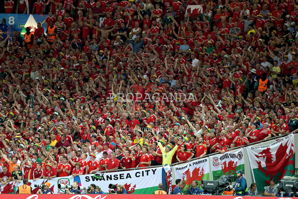 TOULOUSE, FRANCE - Monday, June 20, 2016: Wales supporters celebrate during the 3-0 victory over Russia during the final Group B UEFA Euro 2016 Championship match at Stadium de Toulouse. (Pic by David Rawcliffe/Propaganda)