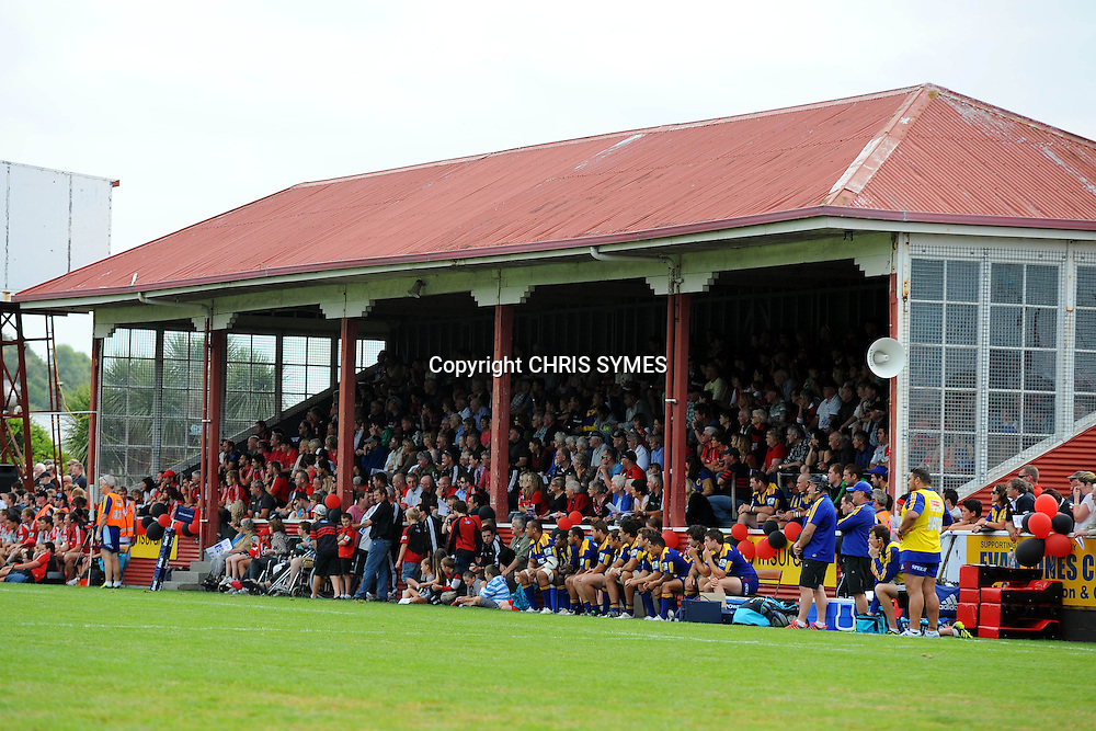 Fans watch from a old stand during their Super Rugby Pre-season game Crusaders v Highlanders. Rugby Park, Greymouth, New Zealand. Friday 3 February 2012. Photo: Chris Symes/www.photosport.co.nz