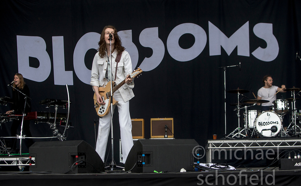 Blossoms, Tom Ogden (lead vocals, guitar), play the main stage on Sunday at the TRNSMT music festival, Glasgow Green.