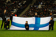 Picture by David Horn/Focus Images Ltd +44 7545 970036<br /> 14/11/2013<br /> A Finland flag before the European U21 Championship match at stadium:mk, Milton Keynes.